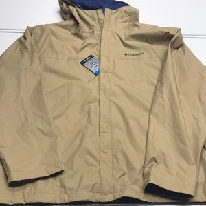 🆕 COLUMBIA Tan Waterproof Rain Jacket Mens XXL